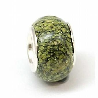 TOC BEADZ Olive Marble Effect 8mm Glass Slide-on Bead