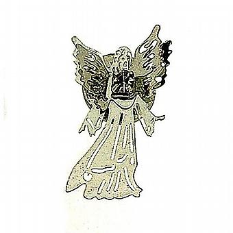 Equilibrium Silvertone Glass Set Guardian Angel Brooch