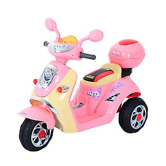 HOMCOM Kids Electric Ride On Toy Car Kids Motorbike Children Tricycle w/ 6V Chargeable Battery Headlight and Music (Pink)