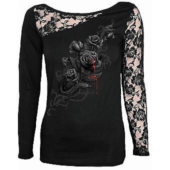 Spiraal van directe gotische FATAL ATTRACTION - kant een schouder Top Black| Roses| Blood| Snake| Tribal
