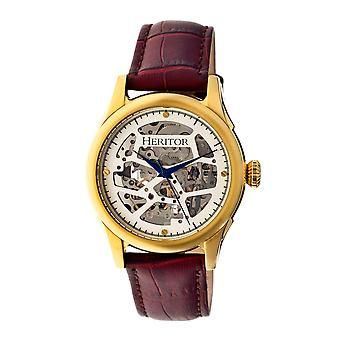 Heritor Automatic Nicollier Skeleton Leather-Band Watch - Gold/Brown
