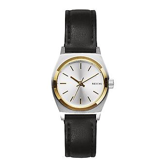 Nixon Small Time Teller in pelle argento oro nero Damenuhr (A5091884)