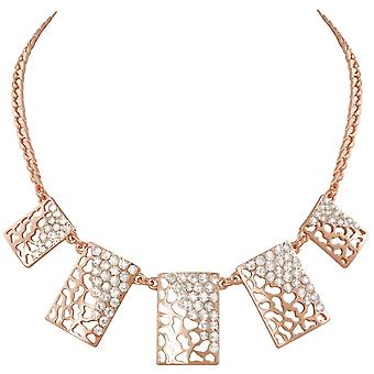 Eternal Collection Safari Clear Crystal Animal Print Rose Gold Tone Statement Necklace