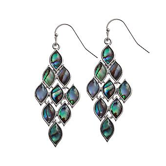 Eternal Collection Gabriella Paua Shell Silver Tone Chandelier Drop Pierced Earrings