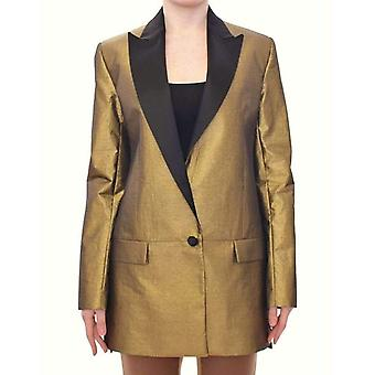 Roberto Fragata Black Gold Silk Coat Jacket Long Blazer -- MOM1864709