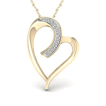 IGI Certified Real 10K Yellow Gold 0.04ct TDW Diamond Heart shape Pendant