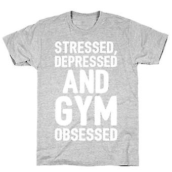 Stressed depressed and gym white print t-shirt