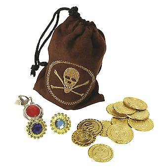 Bristol Novelty Pirate Pouch With Fake Coins Rings And Clip On Earrings
