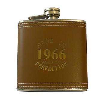 6oz made in 1966 aged to perfection leather flask klb