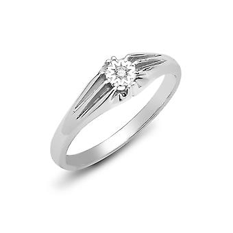 Jewelco London Men's Solid 9ct White Gold Gypsy Set Round H I2 0.04ct Diamond Gypsy Solitaire Ring 6mm