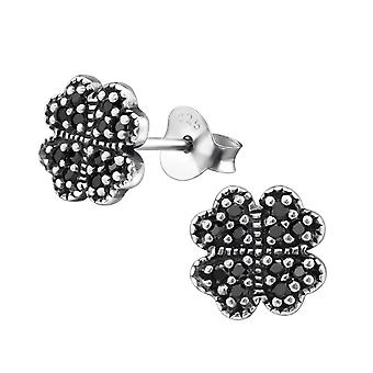 Lucky Clover - 925 Sterling Silver Cubic Zirconia Ear Studs - W30811X