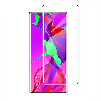 Hærdet glas buet Samsung note 10 plus sort (halvt lim)