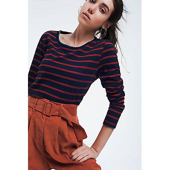 Navy basic t-shirt with stripes
