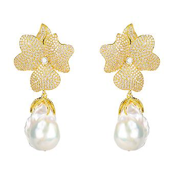 Earrings Baroque Pearl White Natural Drop Earrings Gold Flower CZ Bridal Wedding