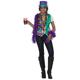 Mardi Gras Parade Festival Fat Tuesday Party Vest Bow Tie Womens Costume Kit