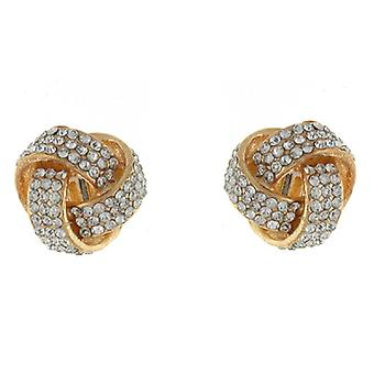 Clip On Earrings Store Gold and Clear Crystal Knot Clip on Earrings