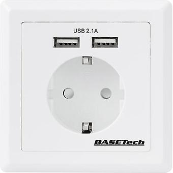 Flush-mount socket incl. USB IP20 White Basetech