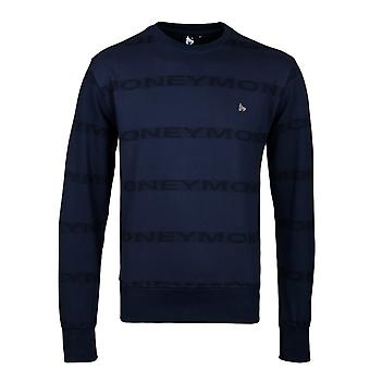 Money Navy Repeat Crew Neck Sweatshirt