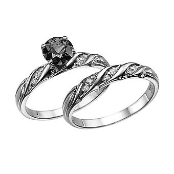 1.10 CTW 14K White Gold Black Diamond Ring with Diamonds Wedding Set