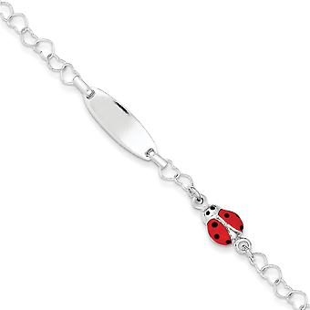 Sterling Silver Polished Lady Bug Baby Engraveable ID Bracelet - 6 Inch