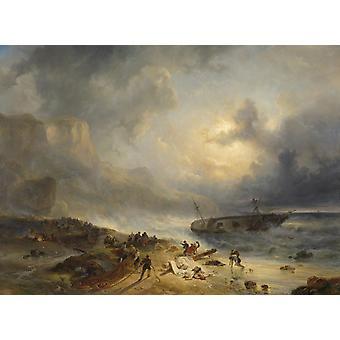 Shipwreck Off A Rocky Coast By Wijnand Nuijen C 1837 Dutch Painting Oil On Canvas After A Three-Masted Ship Foundered And Struck A Rock Seamen Search For Survivors Poster Print