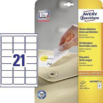 Avery-Zweckform L6023REV-25 Labels (A4) 63.5 x 38.1 mm Paper White 525 pc(s) Removable All-purpose labels Inkjet, Laser,