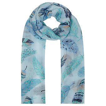 Schal mit blauen & grüne Feder-Print