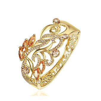 14K Gold Plated Swarovski Elements Vine Cuff Bracelet, 15cm
