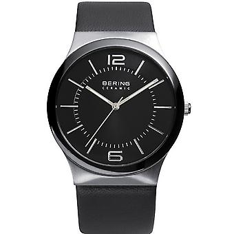 Bering mens watch wristwatch slim ceramic - 32239-000 leather