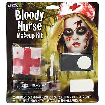 Bloody Nurse Make Up Kit With Cap, Horror Flesh, Bloody Scab, Makeup & Sponge