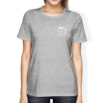 Coffee For Life Pocket Woman's Heather Grey Top Typographic Tee