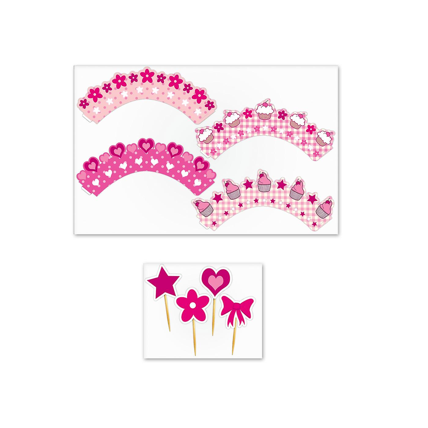 Pretty Pink Cupcake Wraps Pack of 12 with 24 Decorative Picks in 4 Designs
