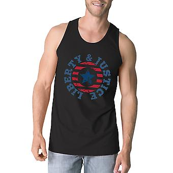 Liberty & Justice Black Sleeveless Tee 4th Of July Tank Top For Men