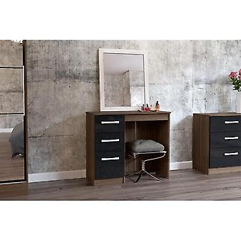 Birlea Lynx 3 Drw Dressing Table Walnut & Black