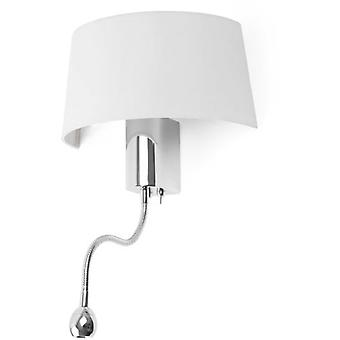 Faro Bcn Hotel White Wall Lamp With Led Reader 1 X E27 15W