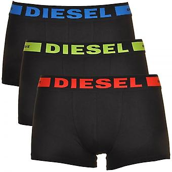 DIESEL 3-Pack Boxer Trunk UMBX-Kory, Black With Red/Green/Blue, X-Large