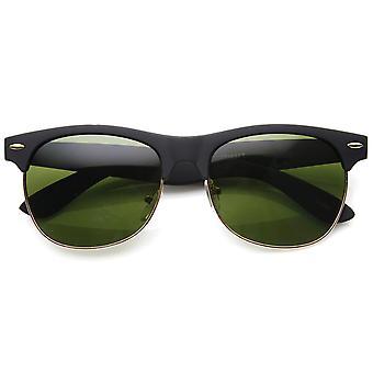 Classic Half Frame Semi-Rimless Soft Finish Horn Rimmed Sunglasses