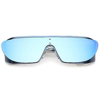 Futuristisk Oversize Metal udskæring gummibelagt Arm Indsæt spejlet skjold solbriller 64mm