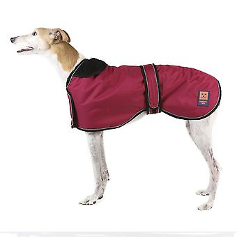 Ginger Ted Greyhound / Whippet / Lurcher Shower Waterproof Coat Cherry Red with Warm Fleece Lining (All Sizes)