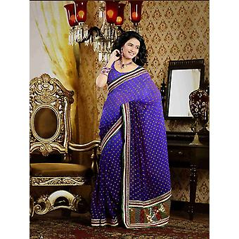 Chitralekha profundo malva falso Crepe lujo partido desgaste Sari sari