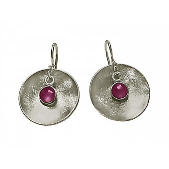Red - 3 cm shell - earrings - earrings - 925 Silver - ladies - Rubin-