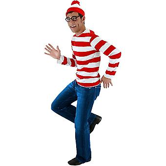 Where's Waldo Wally Shirt Glasses Hat Story Book Week Men Costume Kit