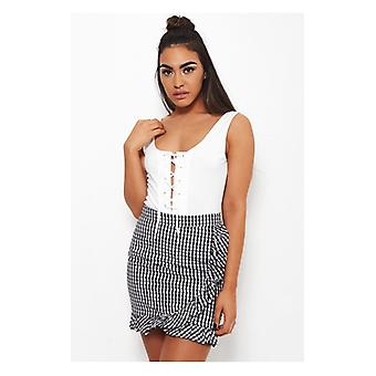 The Fashion Bible Molly Black Gingham Frill Skirt