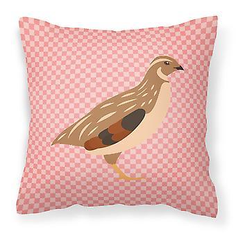 Golden Phoenix Quail Pink Check Fabric Decorative Pillow