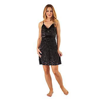 Slenderella GL8711 Women's Black Floral Babydoll Slip Chemise
