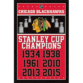 Chicago Blackhawks - Champions 2015 plakat plakatutskrift