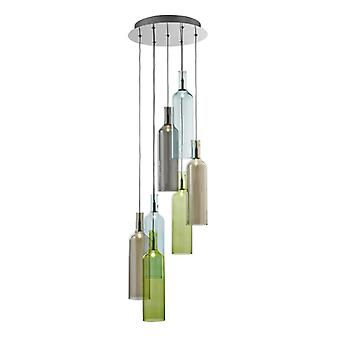 Bottle Chrome And Smoked Coloured Glass 7 Light Pendant - Searchlight 7257-7