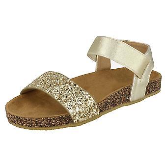 Girls Spot On Glitter Mules - Gold Textile - UK Size 1 - EU Size 33 - US Size 2