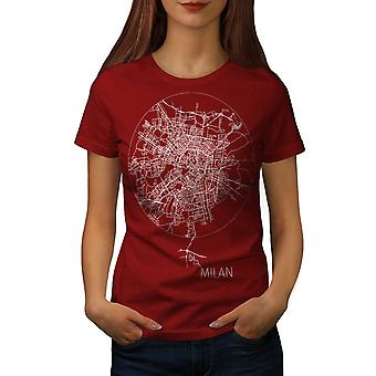 Milan Map Women RedT-shirt | Wellcoda