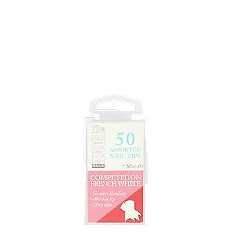 The Edge Nails Competition French White Assorted Size 10 (50 Pack)